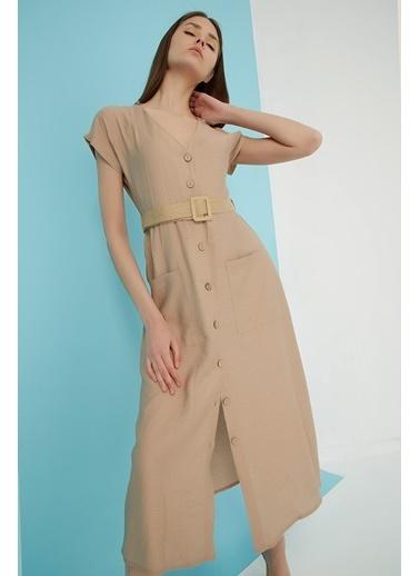 Modaset Cepli Ve Kemerli Elbise Bej Bej